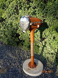 Vintage Chevy headlight sculptural mailbox art 2