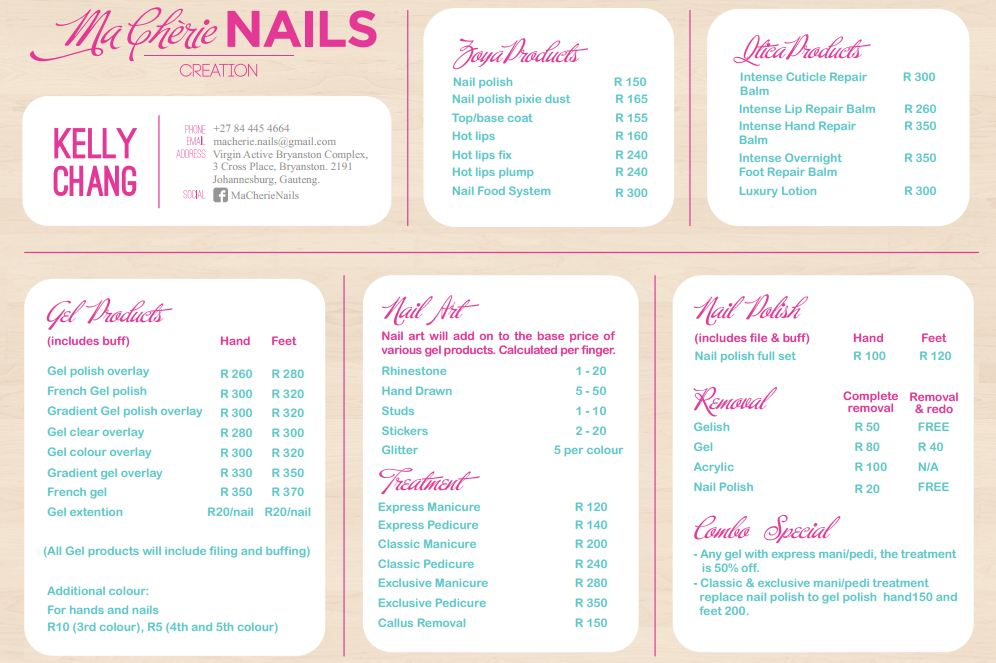Deer diary ma cherie nails for Acrylic nails salon prices