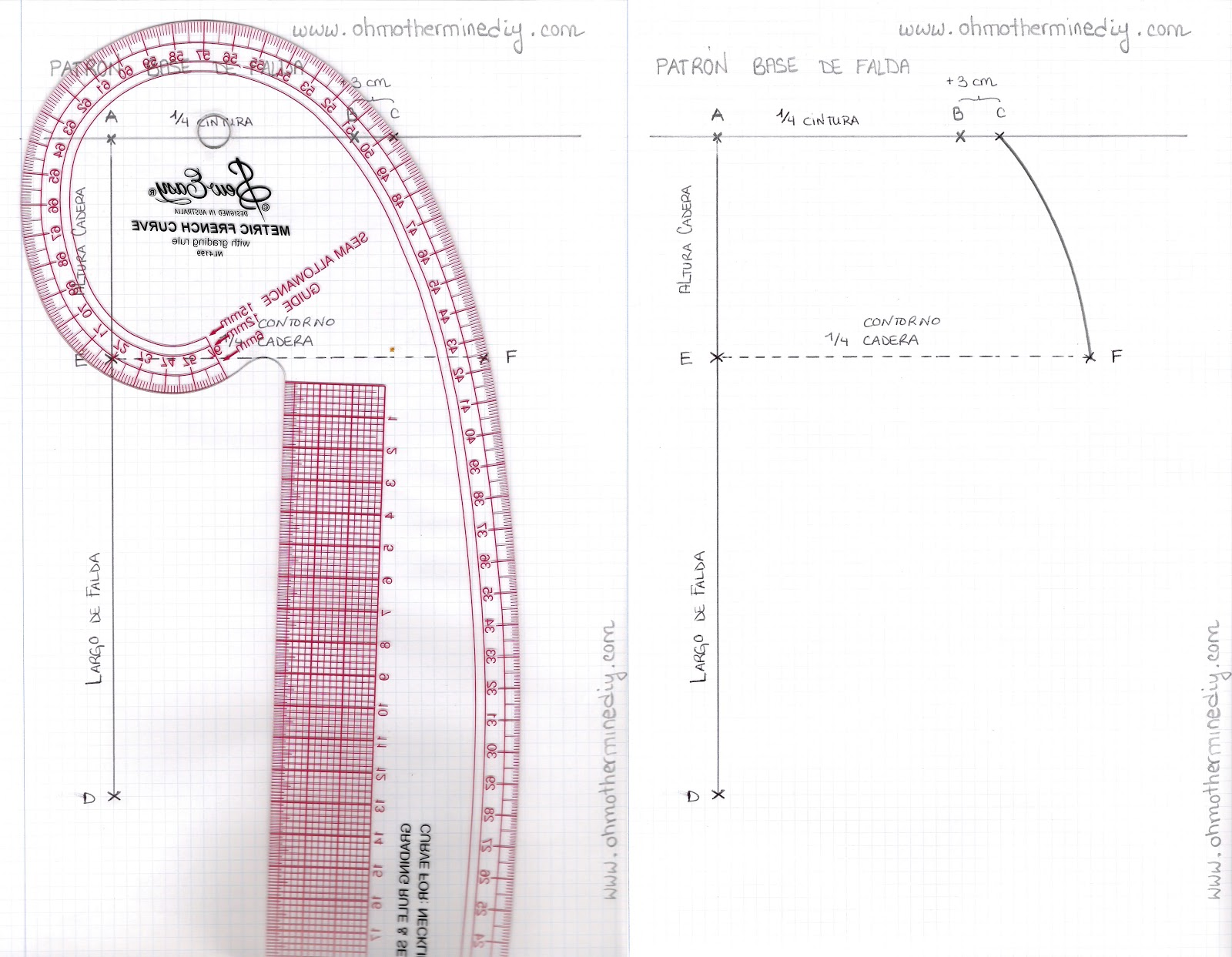 Aprender a coser faldas parte 1: Cómo hacer un patrón base. | | Oh ...