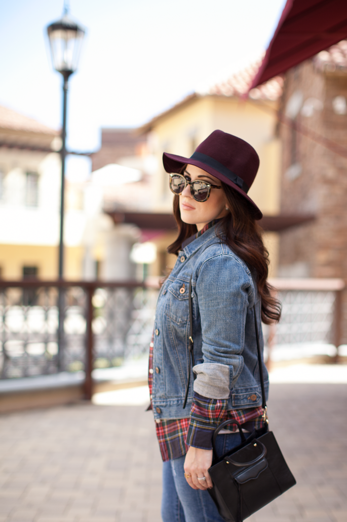 rebecca minkoff mini mab crossbody, burgundy felt fedora, karen walker sunglasses, gap jean jacket