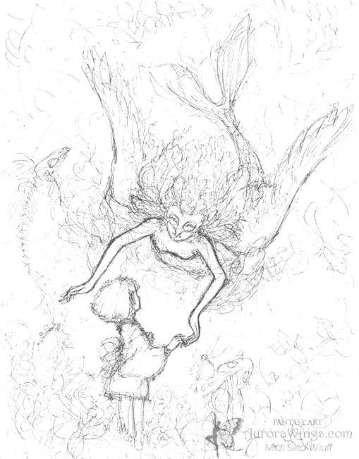 Aurora Wings Fantasy Art Of Mitzi Spirited Away Rough Sketch Spirited Away Coloring Pages