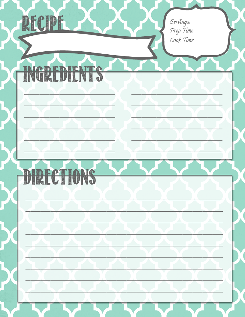 Melanie gets married recipe binder printables for Free printable full page recipe templates