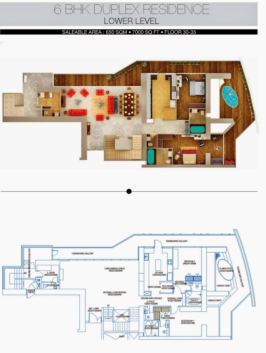 BRYS BUZZ :: Floor Plans 6 BHK Duplex Residence Lower level