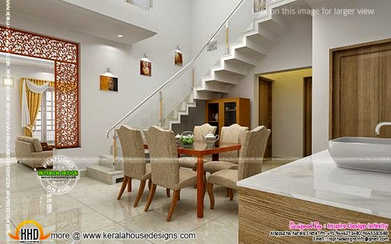 Dining room designs kerala home design and floor plans for Kerala model interior designs