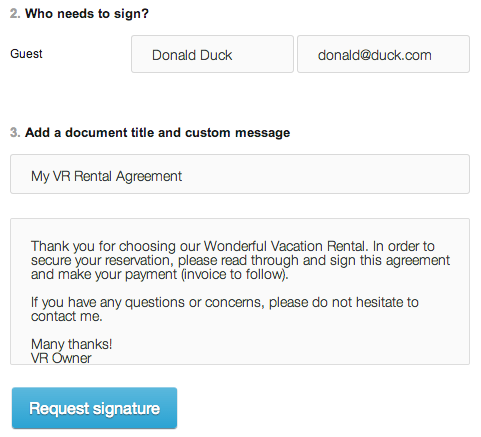 HelloSign: Document Title And Default Message