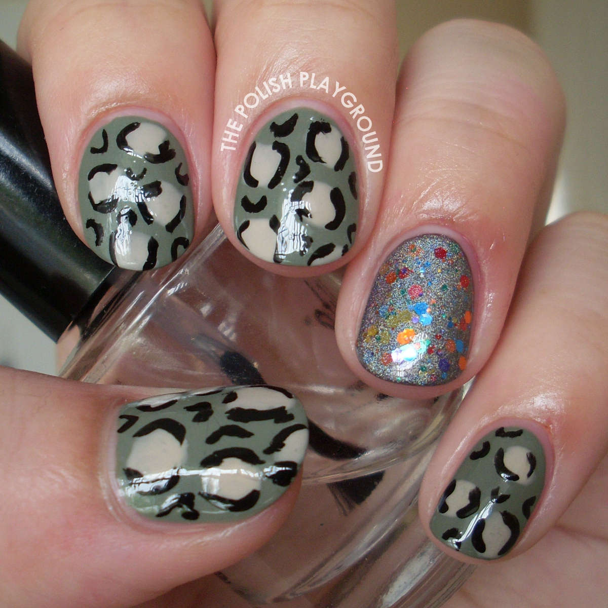 Camouflage Colored Leopard Print Nail Art