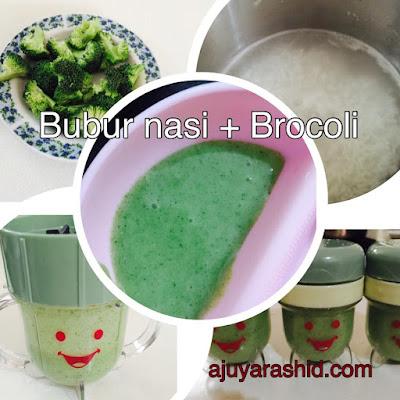 bubur nasi dan brocoli