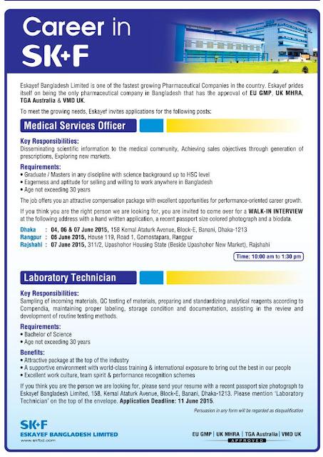 Organization: Eskayef Bangladesh Limited, Post: Medical Services Officer, Laboratory Technician