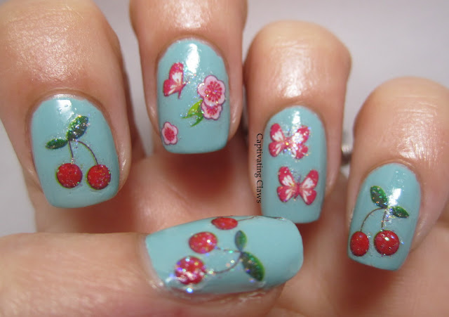 Application of Cherry and Butterfly nail art stickers