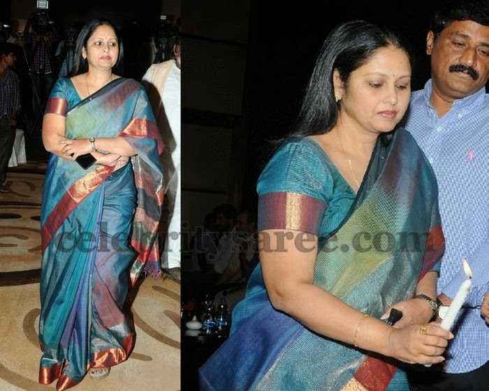 Jayasudha in Royal Blue Silk Saree