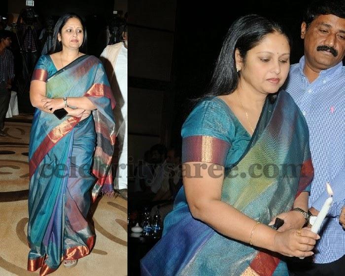 Jayasudha in Royal Blue Silk Saree