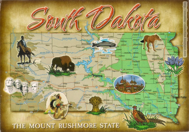 Mapcard | United States of America | South Dakota