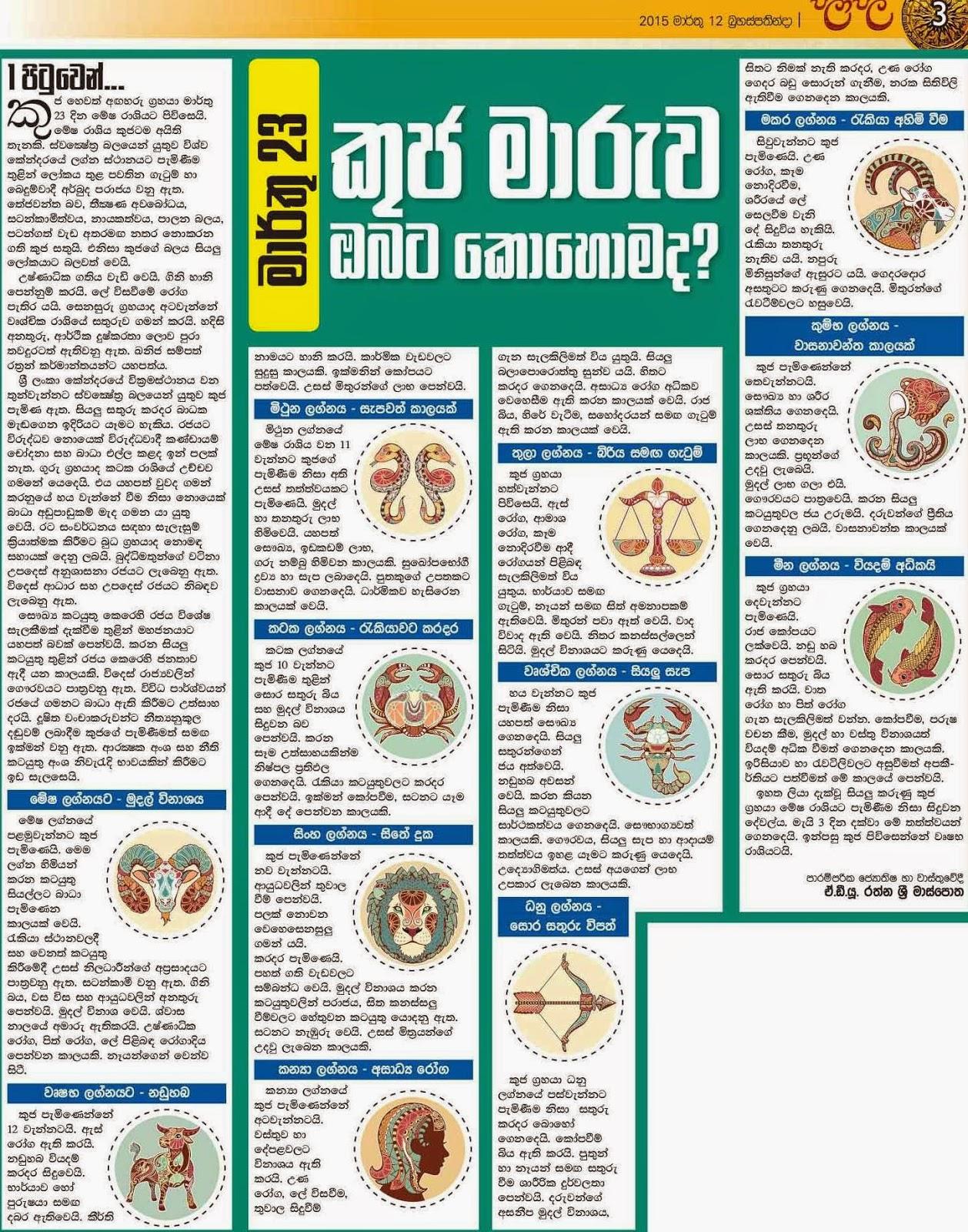 කුජ මාරුව ඔබේ ලග්නයට? Horoscope predictions for Kuja