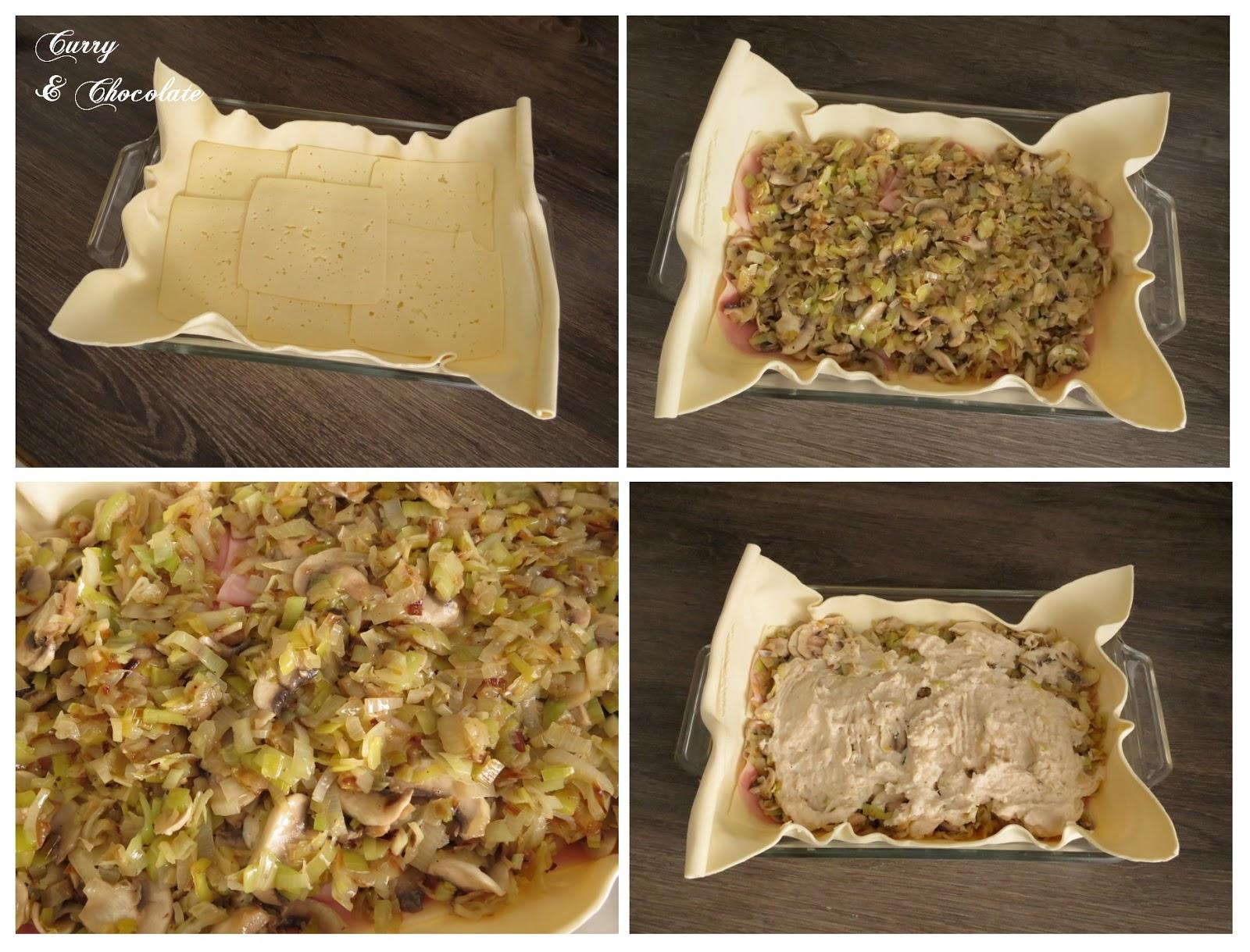 Hojaldre de puerro y champiñones con queso havarti - Montaje