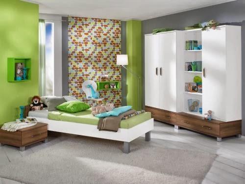 dormitorios para j venes en color verde y gris
