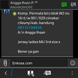 Rincian pesanan jersey dan alamat lengkap Angga Ihsan oleh enkosa sport