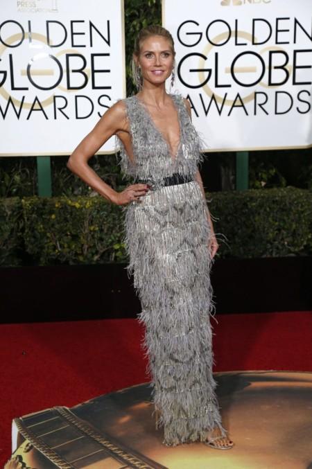 Heidi Klum vestida de  Marchesa en los Golden Globes, enero 2016