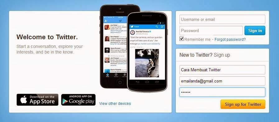 Cara Membuat Twitter dan Daftar Twitter gambar 1