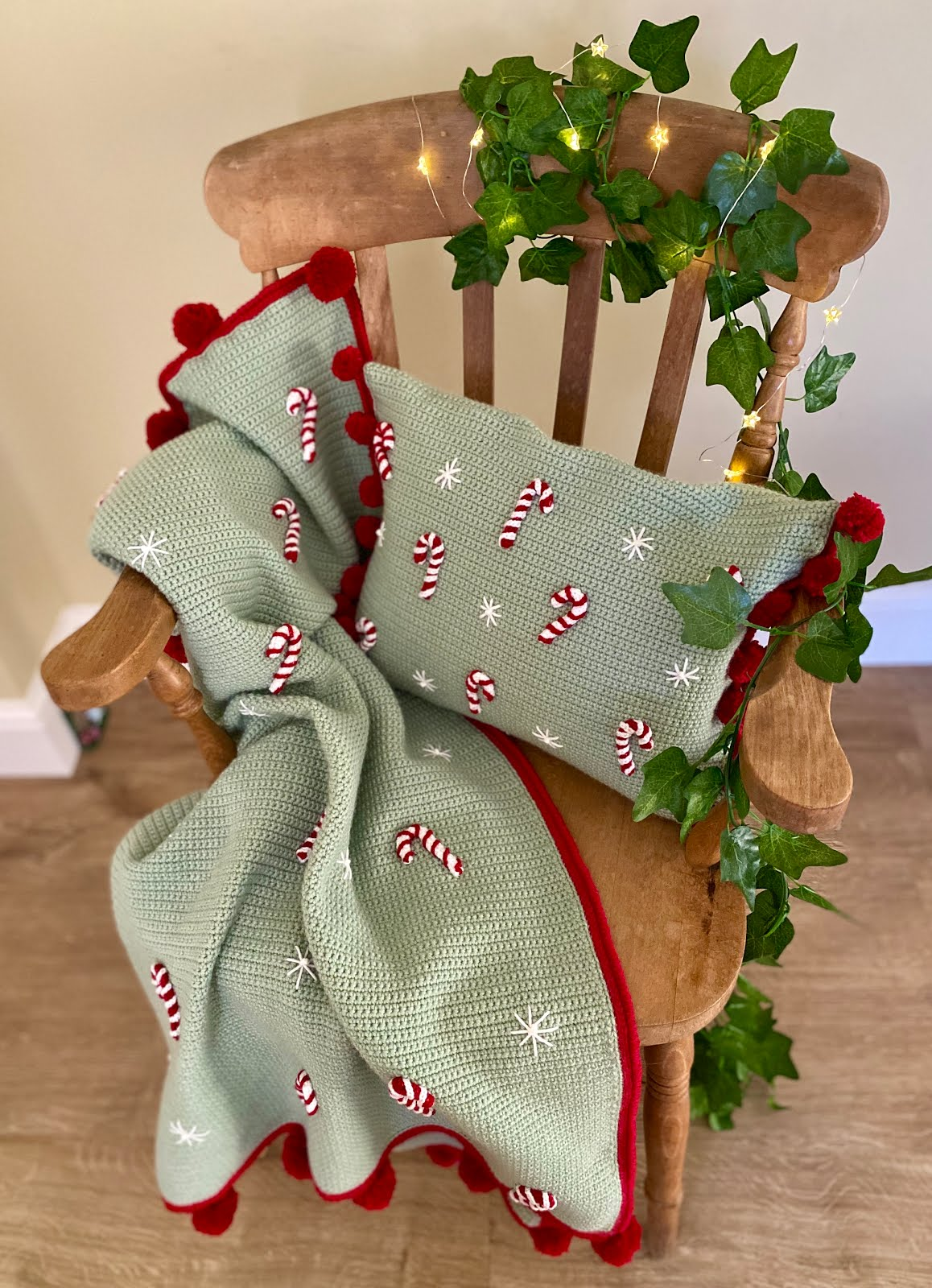Candy Cane Christmas blanket and cushion