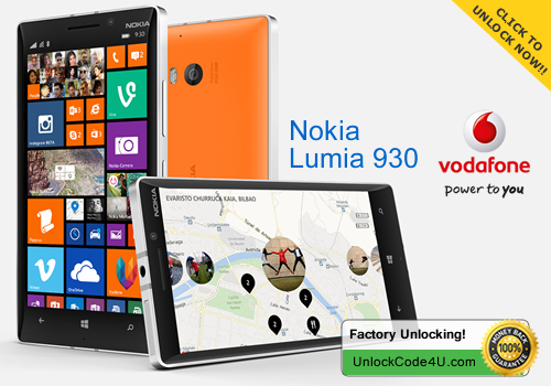 Factory Unlock Code for Nokia Lumia 930 from UK Vodafone