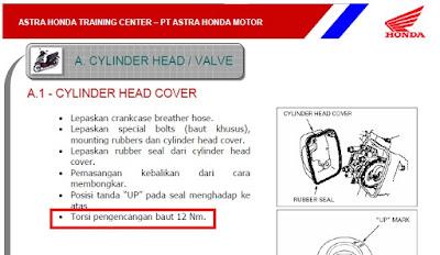 standar kekencangan baut kepala silinder vario