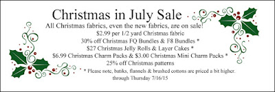 Christmas in July Sale at Crazy Quilt Girl Fabric Shop