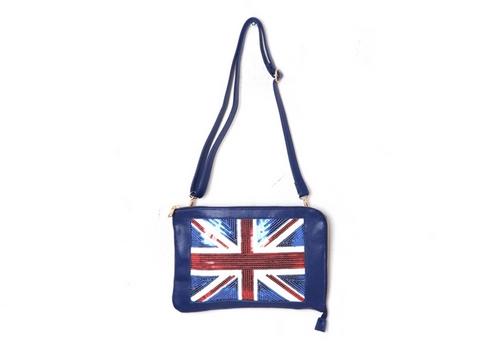 British Sequin Clutch Bag
