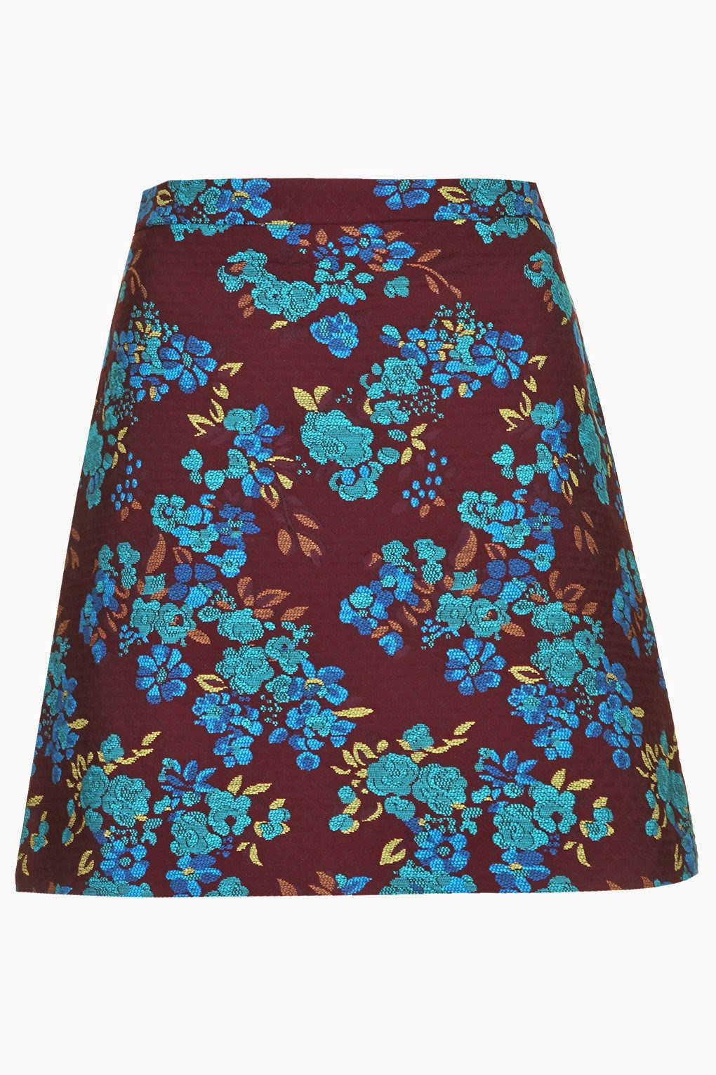 burgundy skirt with flowers