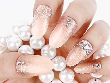 sara nail elegant pink nail tips glitter and stone nail art