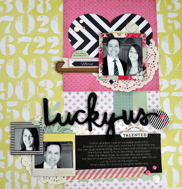 """Lucky Us"" #scrapbookingprocessvideo by Jen Gallacher found at http://jengallacher.blogspot.com/2015/07/memories-made-49-lucky-us-scrapbooking.html"