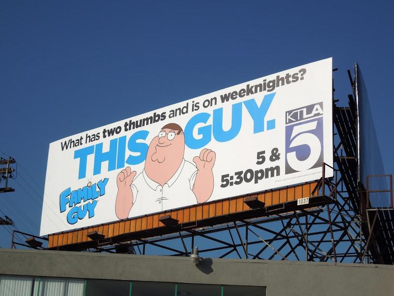 Family Guy cartoon TV billboard