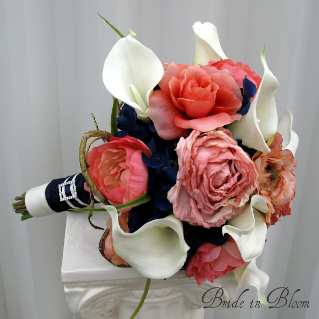 Navy Blue Coral Wedding Bouquets