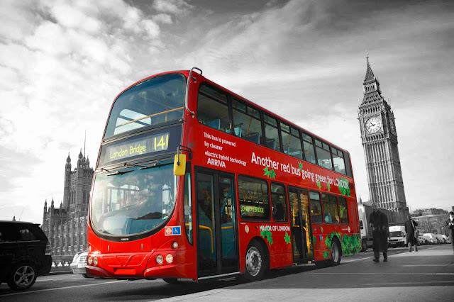 New London bus black and white photography with color