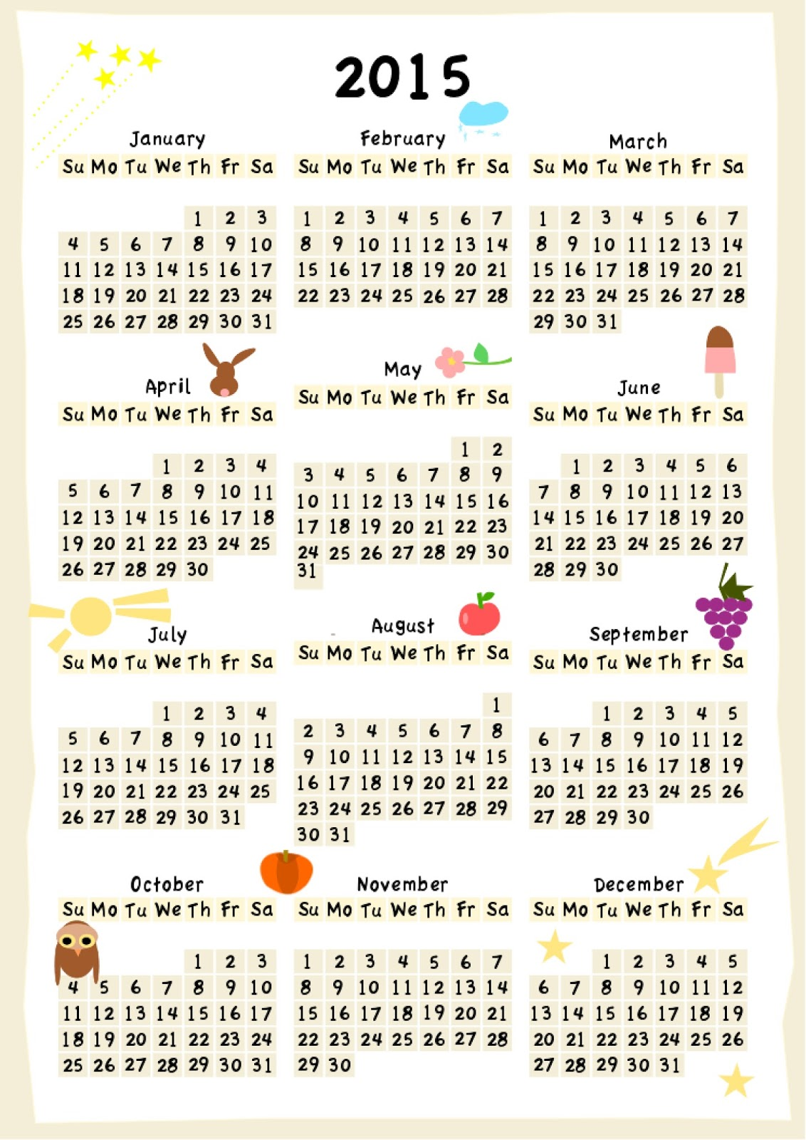 free printable calendar 2015 colorful year
