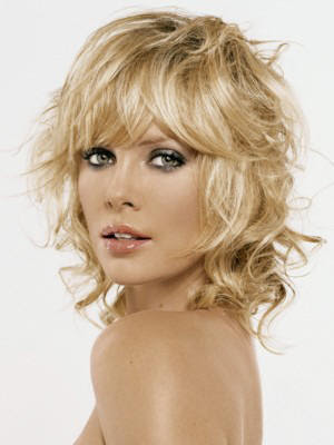 woman with shoulder length blond layered hair and bangs medium, normal, wavy