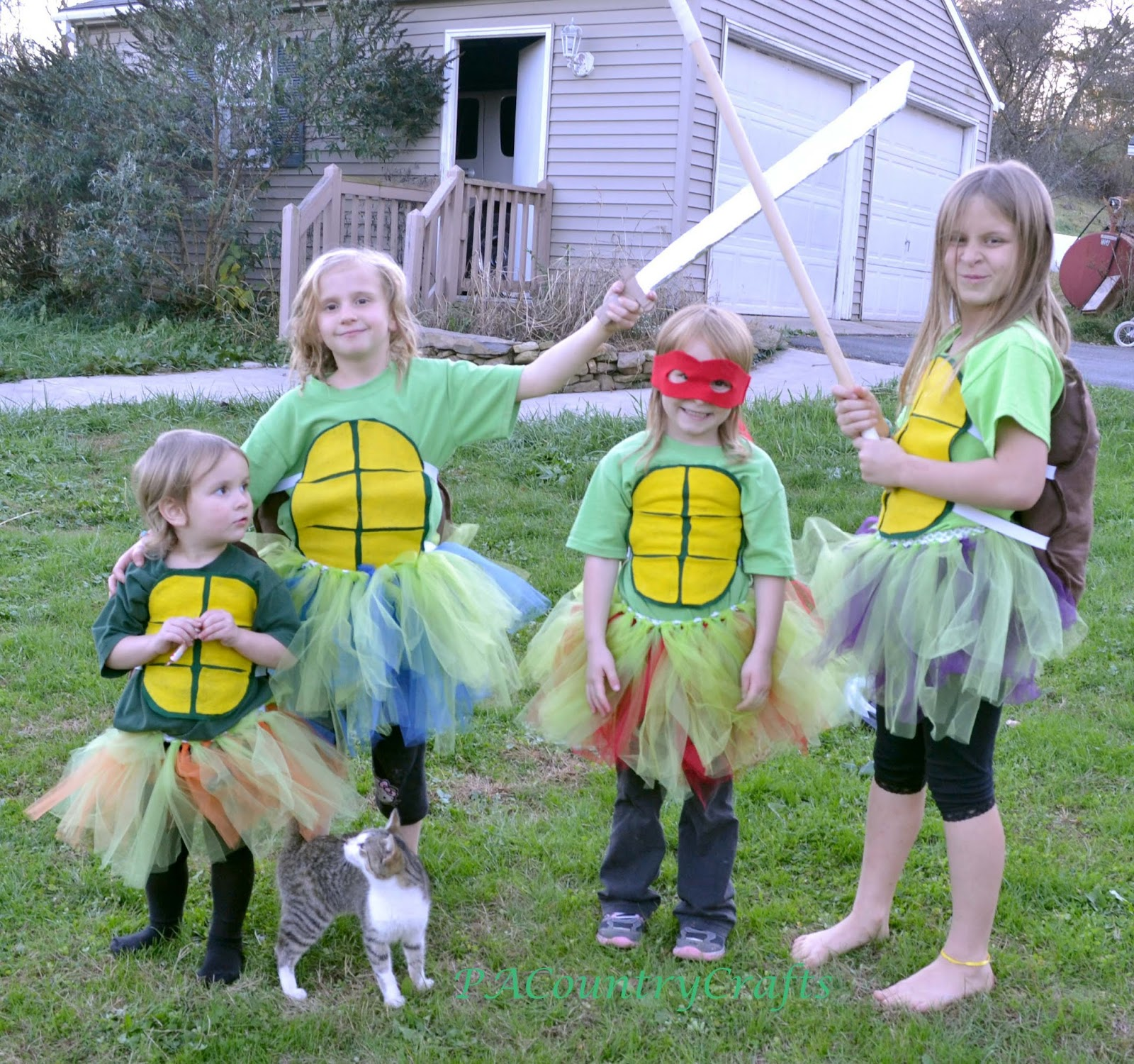 Diy girls ninja turtle costumes with tutus pa country crafts i didnt take pics for a tutorial since it was rushed but i will explain how i made them the shell fronts are made from sheets of felt and hot glue solutioingenieria Gallery