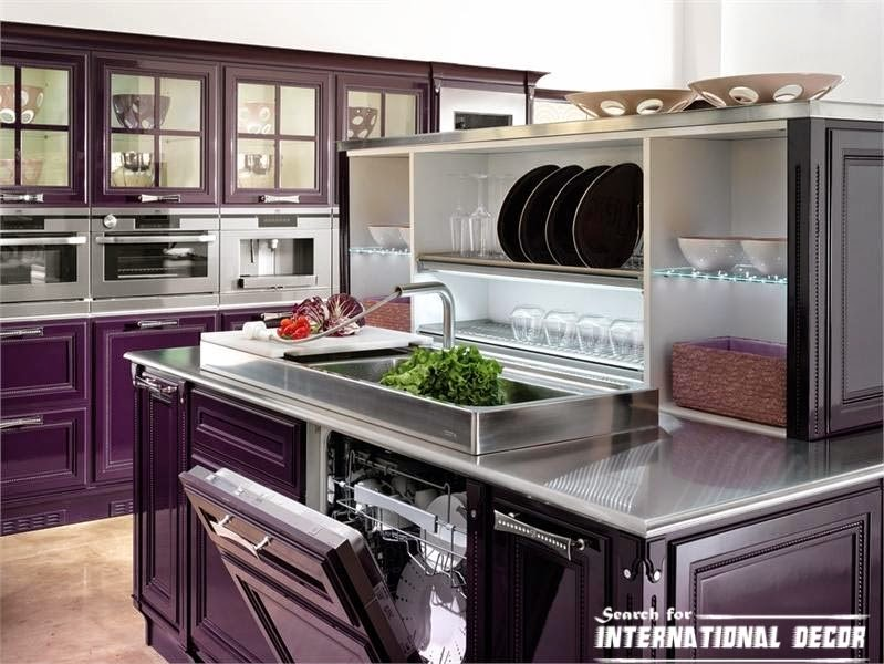 Italian kitchen, Italian cuisine, purple kitchens