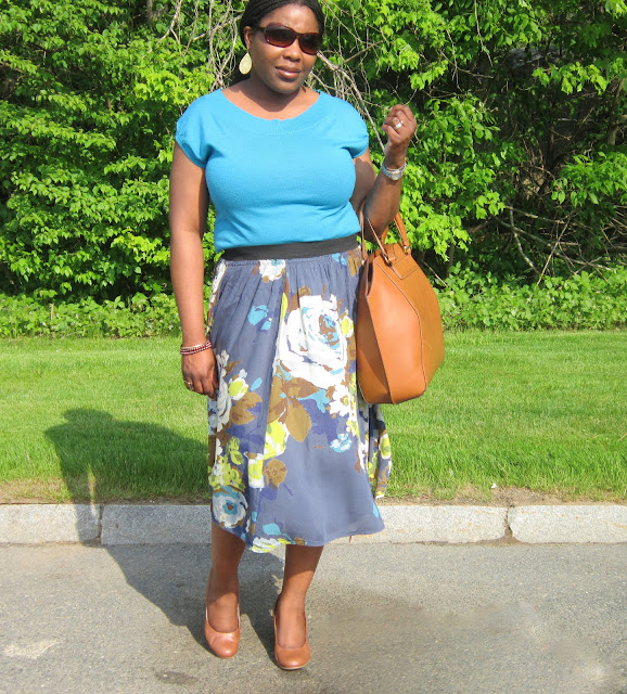 Blue top, floral skirt, midi skirt, cognac shoes, wedges, zara bag