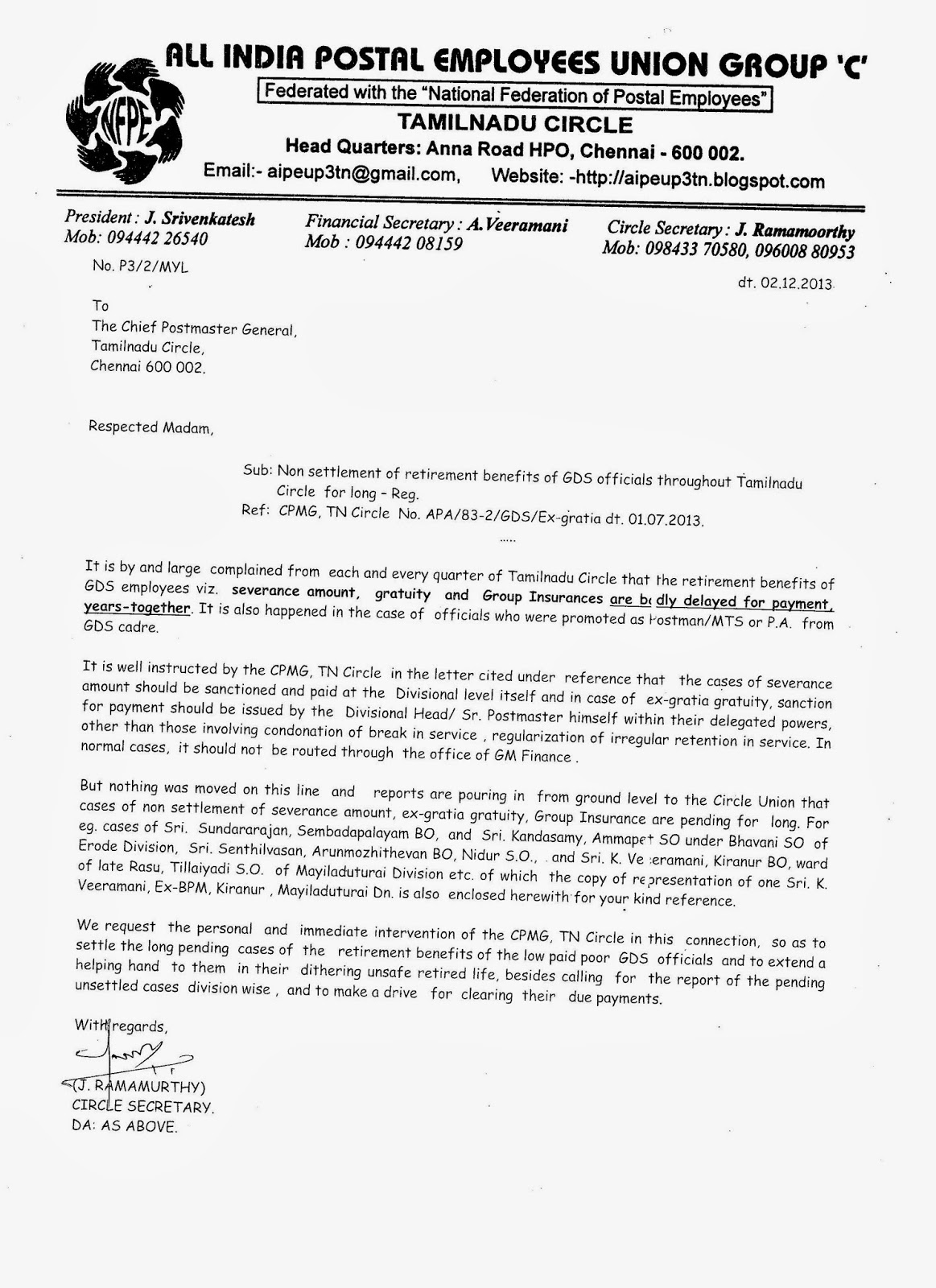Aipeup3tn circle union letter to cpmg tn on delay in payment of circle union letter to cpmg tn on delay in payment of retirement benefits of gds thecheapjerseys Image collections