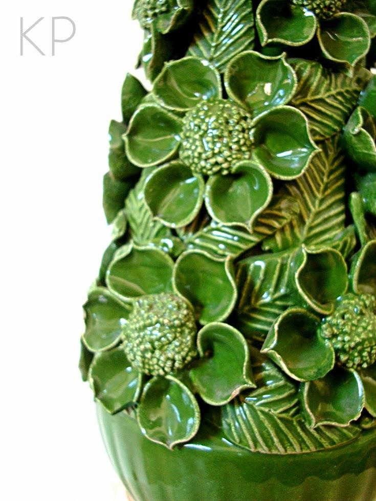Lámparas de cerámica de manises en color verde