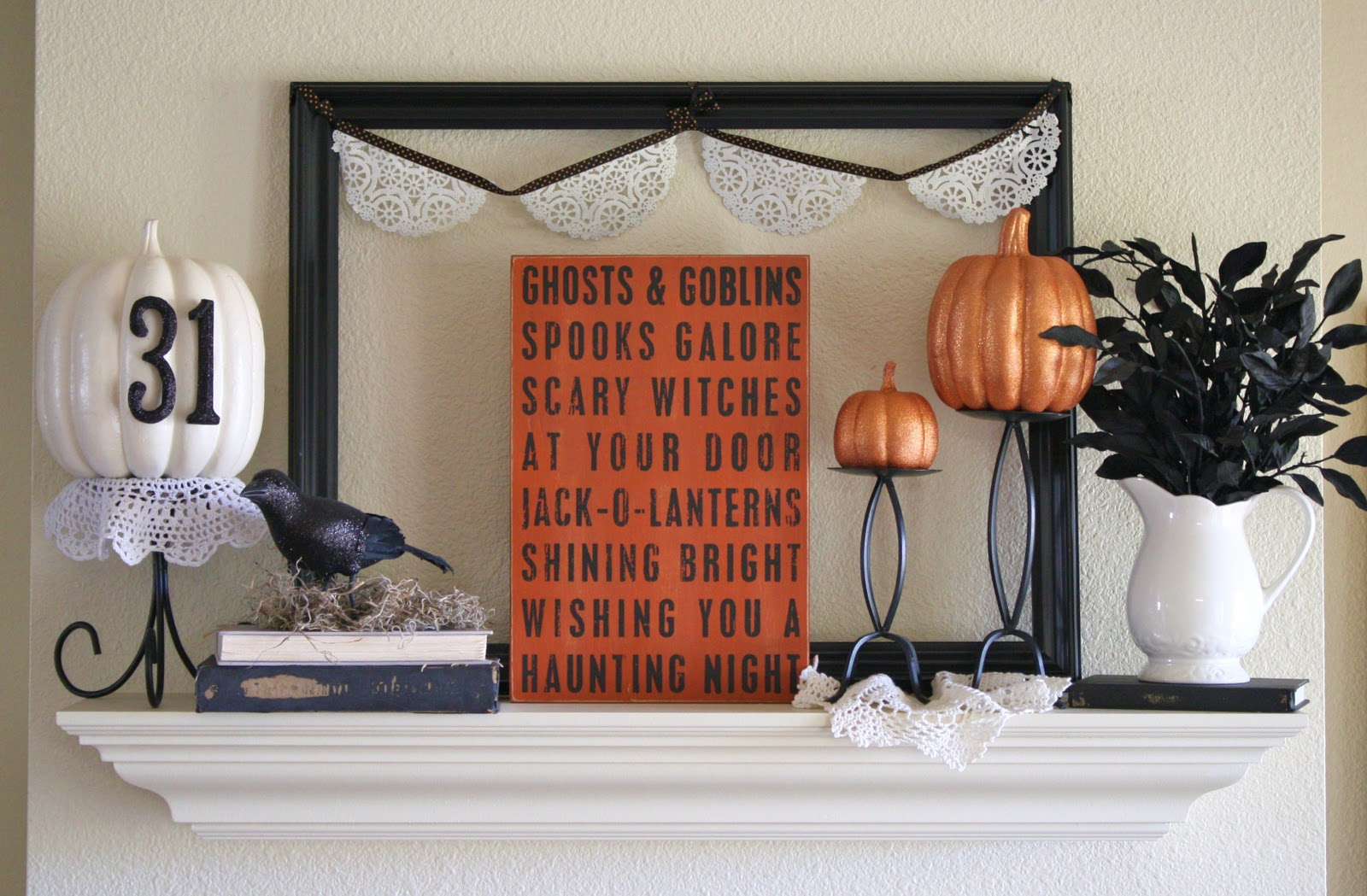 twenty halloween mantel and more decorating ideas fox hollow cottage - Halloween Mantel Decor