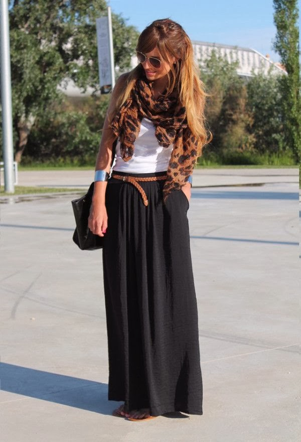 Amazing Maxi Dress, Long Black Skirt, White Blouse, Leopard Scarf, Handbag