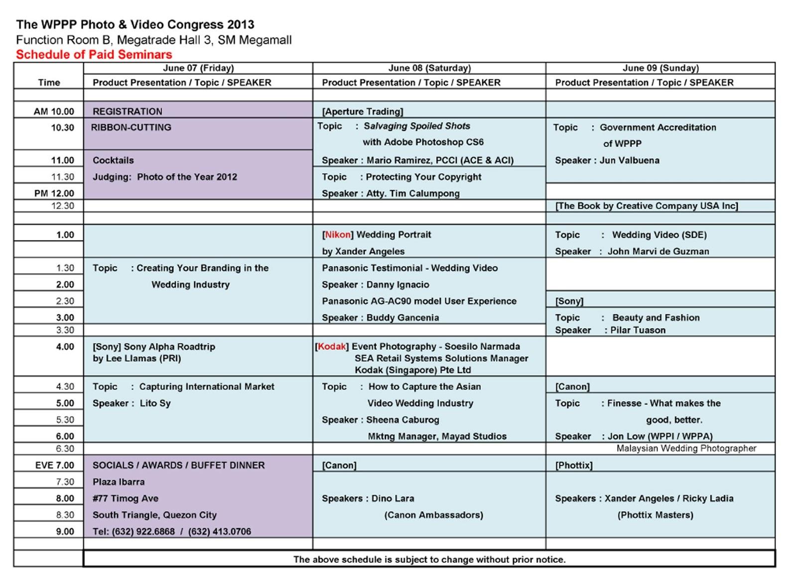 WPPP Schedule of Paid Seminars – Seminar Schedule Template