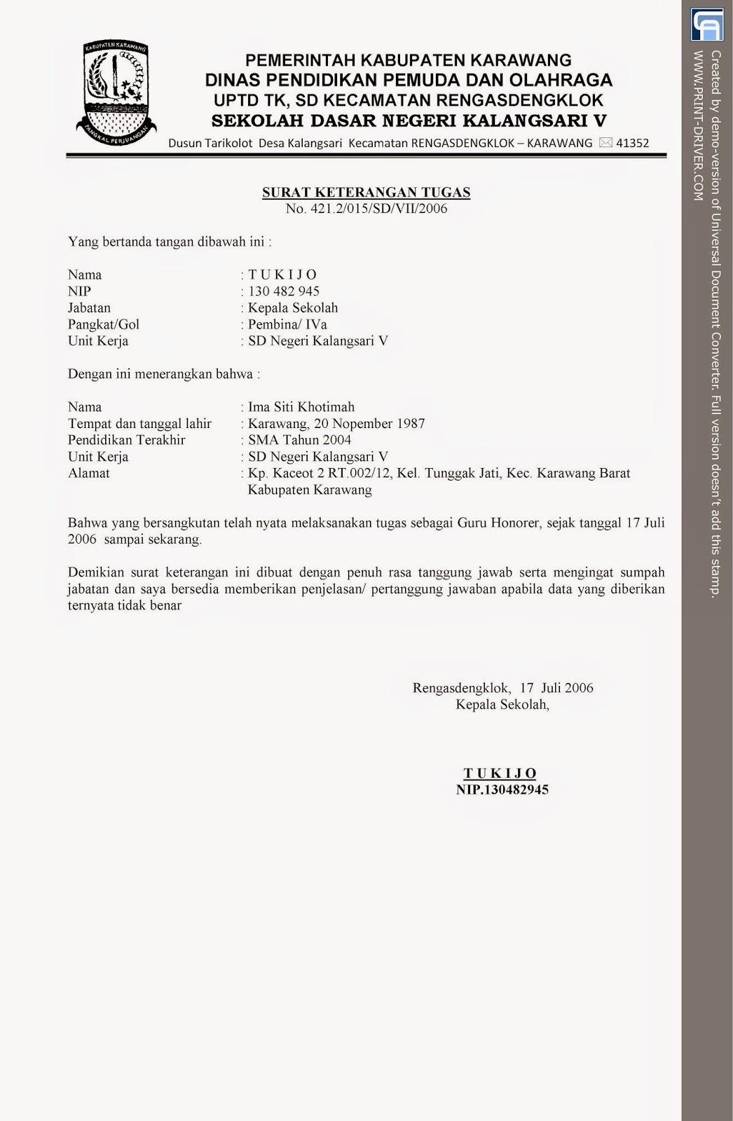 Surat Tugas Guru Honorer Ayo Sekolah