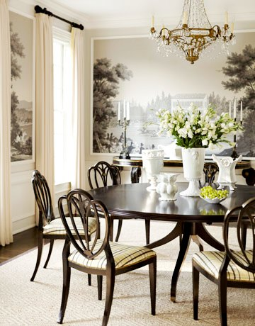 Cococozy cheap to chic pastoral murals for Dining room mural wallpaper