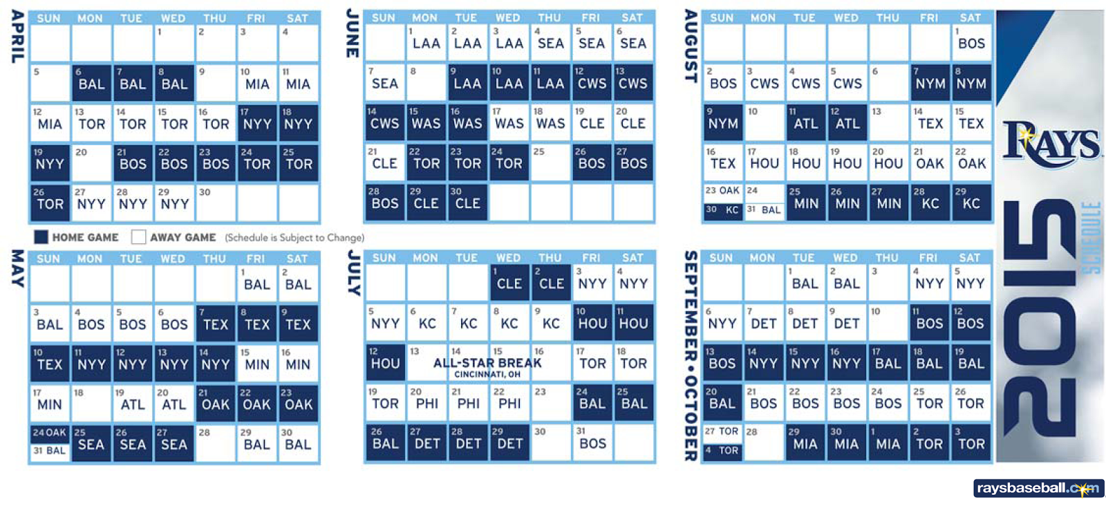 2015 Rays schedule