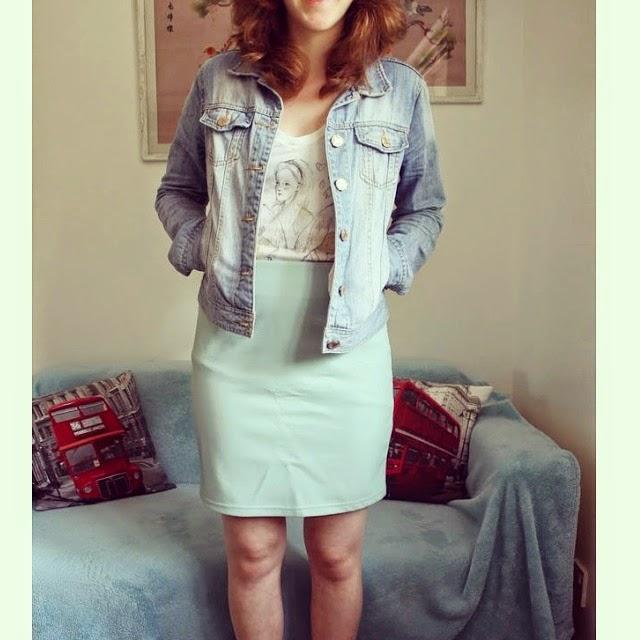 Instagram Update OOTD Mint Leather Skirt