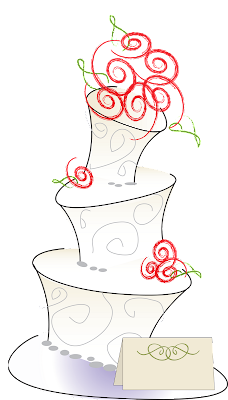 whimsical wedding cake with swirly red roses and a place card for the bride and groom