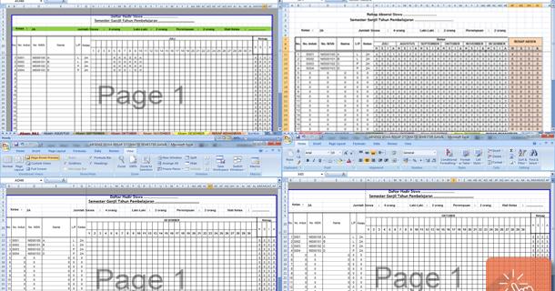 Absensi Siswa Rekap Otomatis Semester Ganjil Format Excel