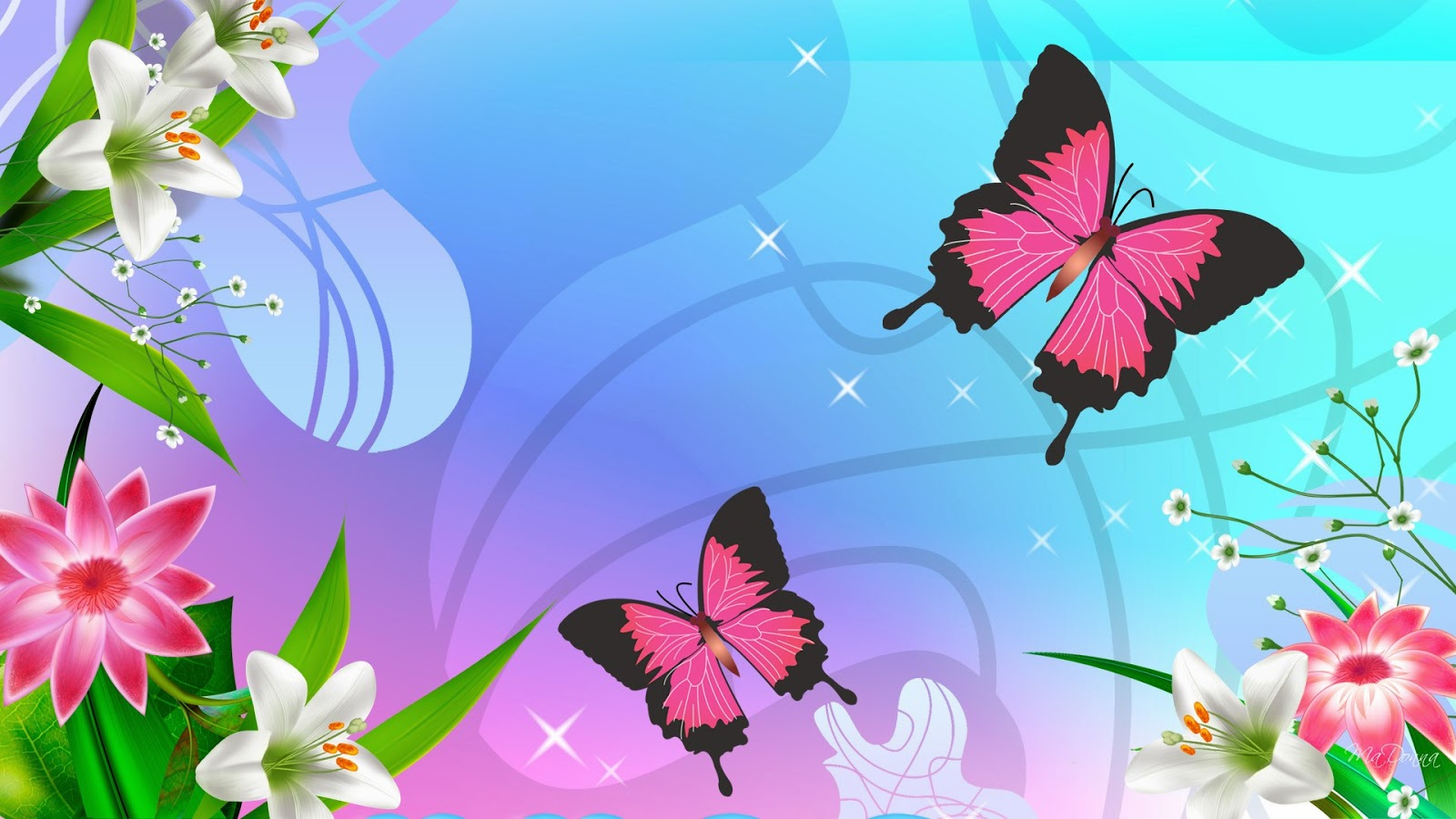 All About Insurance Two Pink Butterfly And Flower Wallpaper